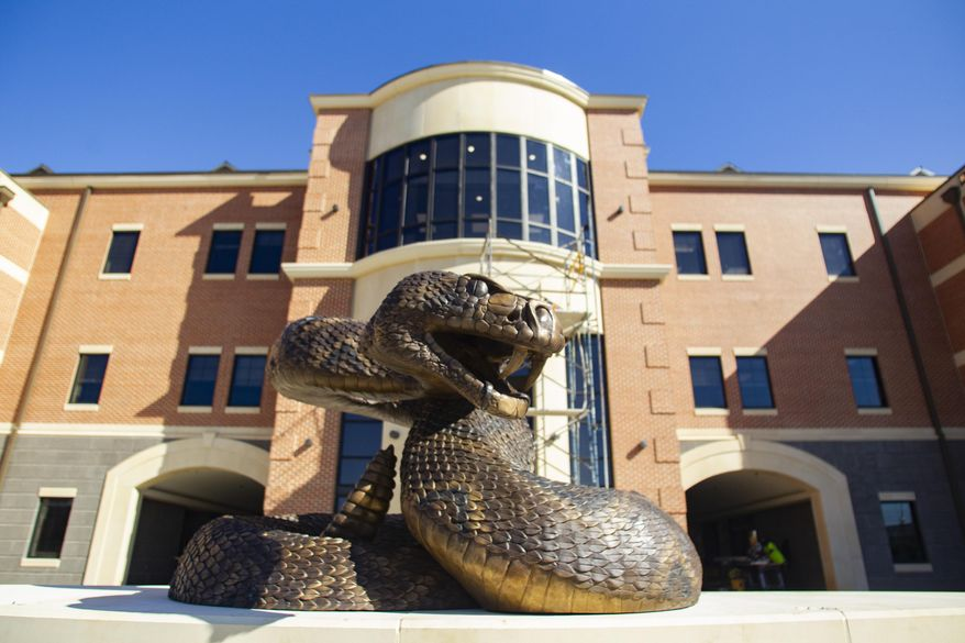 The new bronze rattle snake sculpture installed in front of the Center for Access and Student Success Building on Tuesday, Nov. 17, 2020. (Alicia Devine/Tallahassee Democrat via AP)