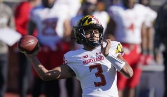 Maryland's Taulia Tagovailoa (3) throws during the first half of an NCAA college football game against Indiana, Saturday, Nov. 28, 2020, in Bloomington, Ind. (AP Photo/Darron Cummings)