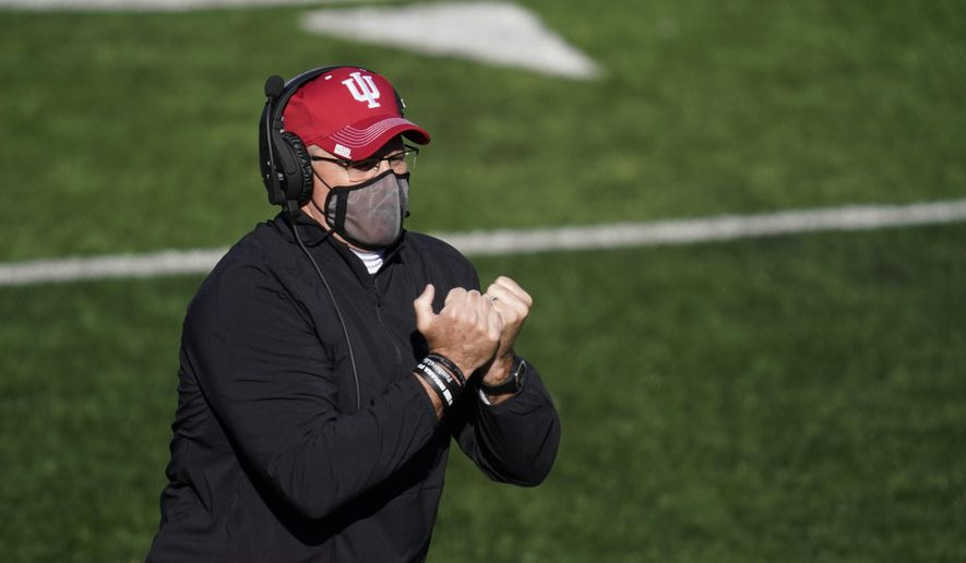 Indiana head coach Tom Allen watches during the second half of an NCAA college football game against Maryland, Saturday, Nov. 28, 2020, in Bloomington, Ind. Indiana won 27-11. (AP Photo/Darron Cummings)  **FILE**