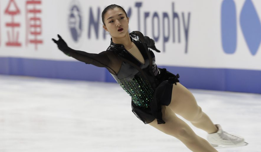 Kaori Sakamoto of Japan performs during a free skating of an ISU Grand Prix of Figure Skating competition in Kadoma near Osaka, Japan, Saturday, Nov. 28, 2020. (AP Photo/Hiro Komae)