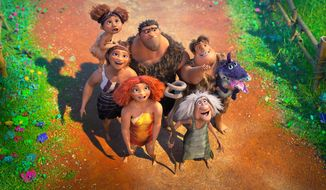 """This image released by DreamWorks shows a scene from the animated film """"The Croods: A New Age."""" (DreamWorks Animation via AP)"""