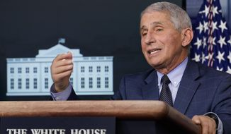 Dr. Anthony Fauci, director of the National Institute for Allergy and Infectious Diseases, speaks during a news conference with the coronavirus task force at the White House in Washington, Thursday, Nov. 19, 2020. (AP Photo/Susan Walsh)  **FILE**