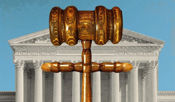 Illustration on the Supreme Court and freedom of worship by Linas Garsys/The Washington Times
