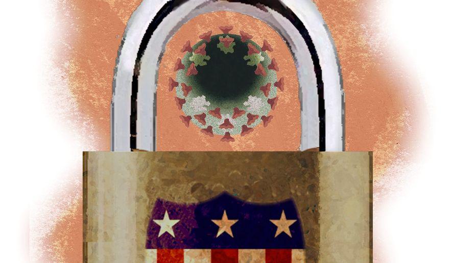 Illustration on renewed lockdowns by Alexander Hunter/The Washington Times