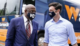 Democrats Raphael Warnock (left) and Jon Ossoff are getting a lot of help from Hollywood heavyweights as they campaign in two closely watched Georgia runoffs that will determine the balance of the Senate. (Associated Press photograph)