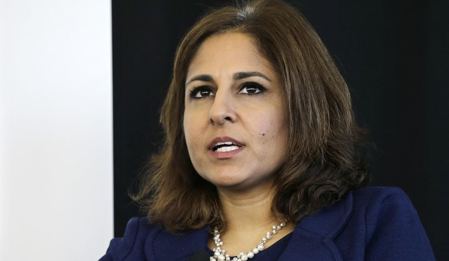Neera Tanden, president of Center for American Progress, speaks during an introduction for New Start New Jersey at NJIT in Newark, NJ, Monday, Nov. 10, 2014. (AP Photo/Mel Evans)