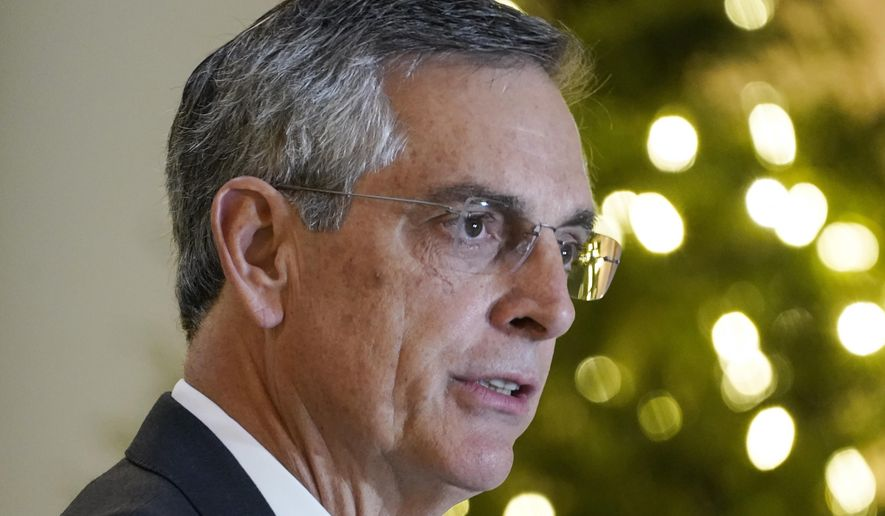 Georgia Secretary of State Brad Raffensperger speaks during a news conference on Monday, Nov. 30, 2020, in Atlanta. (AP Photo/Brynn Anderson)