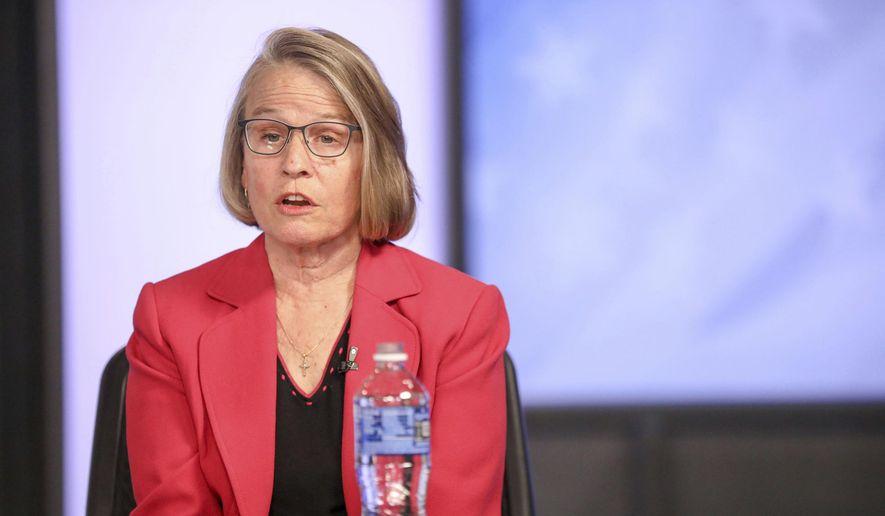 Mariannette Miller-Meeks answers a question during a debate with Rita Hart in Cedar Rapids, Iowa. (Rebecca F. Miller/The Gazette via AP, File)