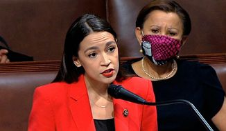 In this July 23, 2020, file image from video, Rep. Alexandria Ocasio-Cortez, D-N.Y., speaks on the House floor on Capitol Hill in Washington. (House Television via AP, File)