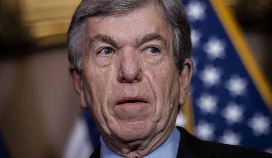 In this file photo, Sen. Roy Blunt, R-Mo., speaks to reporters on Capitol Hill in Washington, Tuesday, Dec. 1, 2020. Mr. Blunt is one of three Republican members on the Joint Congressional Committee on Inaugural Ceremonies who opposed a resolution recognizing Joseph R. Biden as the President-elect who will be sworn into office on Jan. 20, 2021. (Bill O'Leary/Pool via AP)