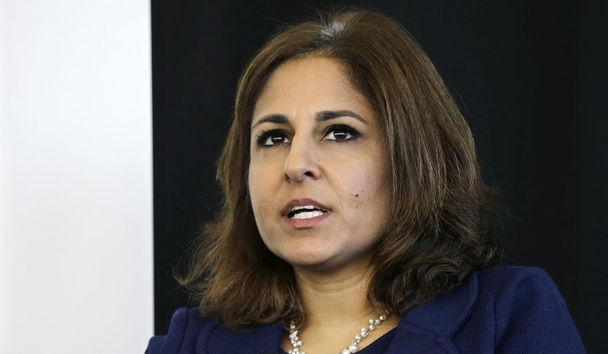 In this Monday, Nov. 10, 2014, file photo, Neera Tanden, president of Center for American Progress, speaks during an introduction for New Start New Jersey at NJIT in Newark, N.J. President-elect Joe Biden is expected to name several of his most senior economic advisers in the coming days. Tanden could be one of those named. (AP Photo/Mel Evans, File)