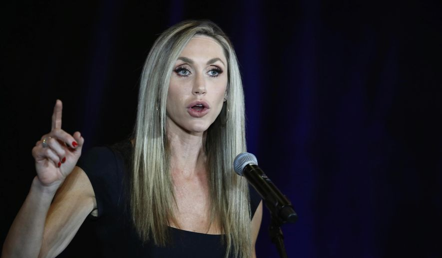 Lara Trump, the wife of Eric Trump, speaks during a campaign event for President Donald Trump at The Westin hotel in Las Vegas Tuesday, Oct. 20, 2020. (Steve Marcus/Las Vegas Sun via AP) ** FILE **