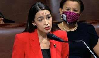 FILE - In this July 23, 2020, file image from video, Rep. Alexandria Ocasio-Cortez, D-N.Y., speaks on the House floor on Capitol Hill in Washington. Ocasio-Cortez raised $240 thousand for six organizations that provide services in her New York City congressional district over the weekend of Nov. 28, 2020, with most of it coming in during a 5-hour livestream when she was playing an online game. (House Television via AP, File)