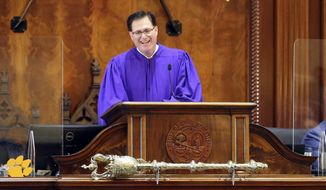 South Carolina House Speaker Jay Lucas presides over the House's organization session Tuesday, Dec. 1, 2020, in Columbia, S.C. Lucas was first elected Speaker for the 2015 session. (AP Photo/Jeffrey Collins)