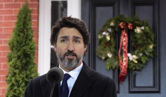 Prime Minister Justin Trudeau holds a press conference at Rideau Cottage during the COVID-19 pandemic in Ottawa on Tuesday, Dec. 1, 2020. (Sean Kilpatrick/The Canadian Press via AP) ** FILE **