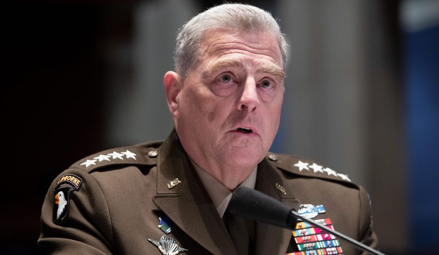 Joint Chiefs of Staff Chairman Gen. Mark A. Milley delivered a frank assessment on the current military situation in Afghanistan. (ASSOCIATED PRESS)