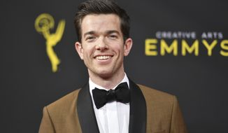 John Mulaney arrives at night one of the Creative Arts Emmy Awards on Saturday, Sept. 14, 2019, at the Microsoft Theater in Los Angeles. (Photo by Richard Shotwell/Invision/AP)