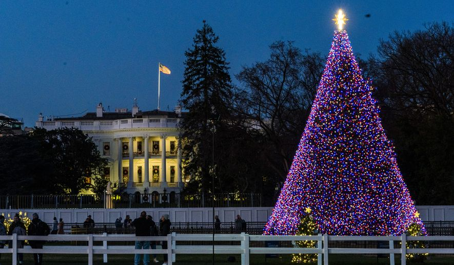 The National Christmas Tree is lit on the Ellipse near the White House, Wednesday, Dec. 2, 2020, in Washington. (AP Photo/Manuel Balce Ceneta)