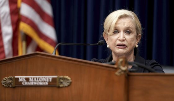 Rep. Carolyn Maloney, D-N.Y., delivers her opening statement during a House Committee on Oversight and Reform hearing on unsustainable drug prices on Capitol Hill, Wednesday, Sept. 30, 2020, in Washington. (Greg Nash/Pool via AP) **FILE**