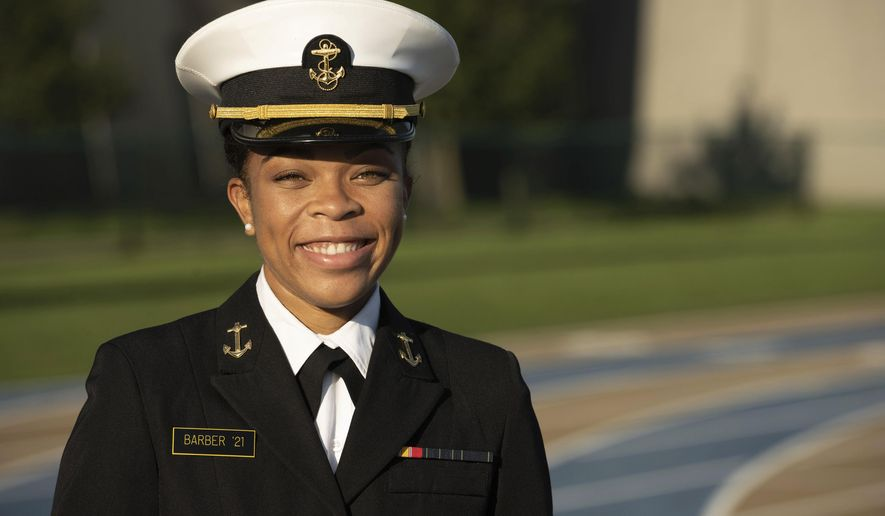 FILE - This undated photo provided by the U.S. Navy shows Midshipman 1st Class Sydney Barber, from Lake Forest, Ill. Barber has become the first Black woman selected for the U.S. Naval Academy's top student leadership position of brigade commander.  She will assume her role next semester.  (Petty Officer 2nd Class Nathan Burke/U.S. Navy via AP, File)