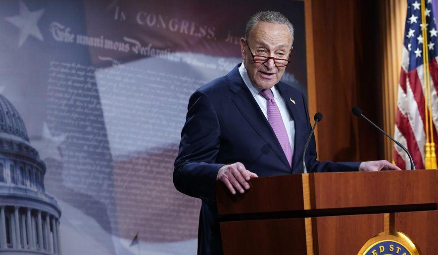 Senate Minority Leader Sen. Chuck Schumer of N.Y., speaks on Capitol Hill in Washington, Tuesday, Dec. 1, 2020. (AP Photo/Susan Walsh) ** FILE **