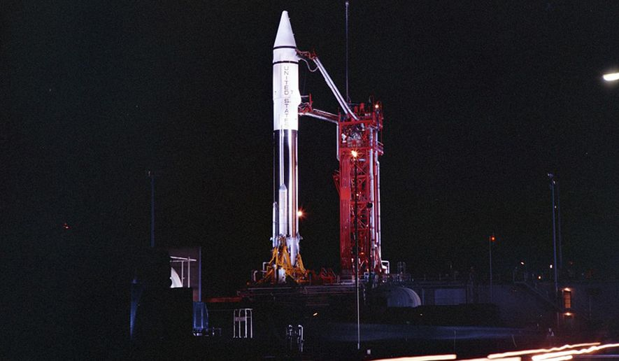 This Sept. 20, 1966, photo provided by the San Diego Air and Space Museum shows an Atlas Centaur 7 rocket on the launchpad at Cape Canaveral, Fla. A mysterious object temporarily orbiting Earth is the Centaur upper stage of this 54-year-old rocket, not an asteroid after all, astronomers confirmed Wednesday, Dec. 2, 2020. Observations by a telescope in Hawaii clinched its identity, according to NASA's Jet Propulsion Laboratory in Pasadena, California. (Convair/General Dynamics Astronautics Atlas Negative Collection/San Diego Air and Space Museum via AP)