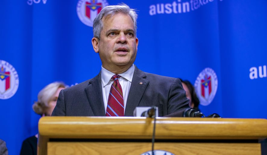 "In this March 6, 2020, file photo, Austin Mayor Steve Adler speaks during a press conference in Austin, Texas. Adler took a vacation to Mexico with family in November at a time when he was urging people to ""stay home if you can."" The trip revealed by the Austin-American Statesman on Wednesday, Dec. 2, 2020, comes after California Gov. Gavin Newsom, another public official who has also pleaded with his residents to resist the temptation to socialize, acknowledged last month that he attended a birthday party at a posh restaurant with friends. (Ricardo B. Brazziell/Austin American-Statesman via AP, File)"