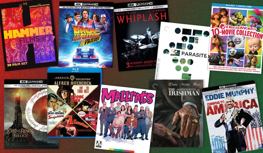 "Gift ideas for movie watchers include ""Lord of the Rings: The Motion Picture Trilogy,"" ""Resident Evil: Limited Edition Collection,"" ""The Irishman,"" ""Back to the Future: The Ultimate Trilogy,"" ""Rambo: The Complete Steelbook Collection,"" ""Hammer Films: The Ultimate Collection,"" ""Dreamworks: 10-Movie Collection,"" ""Bugs Bunny 80th Anniversary Collection,"" ""Coming to America: Steelbook Edition,"" ""Alfred Hitchcock: Archive Collection,"" ""Parasite,"" ""Whiplash"" and ""Mall Rats: Limited Edition."""
