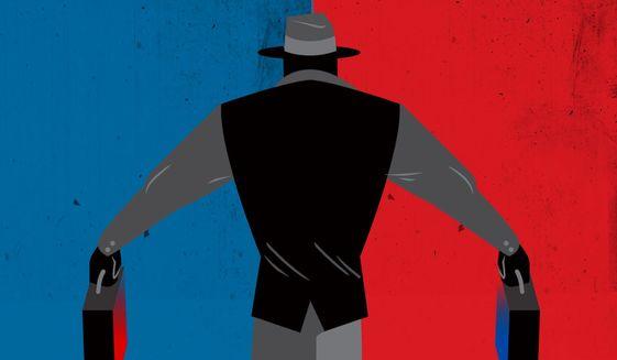 Illustration on the trustworthy intelligence service by Linas Garsys/The Washington Times