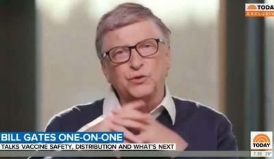 "Billionaire Bill Gates talks about the coronavirus pandemic with NBC's Savannah Guthrie, Dec. 3, 2020. (Image: NBC, ""Today"" video screenshot) ** FILE **"