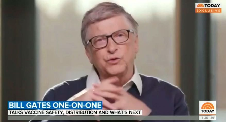 "Billionaire Bill Gates talks about the coronavirus pandemic with NBC's Savannah Guthrie, Dec. 3, 2020. (Image: NBC, ""Today"" video screenshot) ** FILE **"