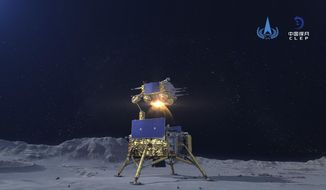 In this China National Space Administration (CNSA) photo released by Xinhua News Agency, a simulated image of the ascender of Chang'e-5 spacecraft blasting off from the lunar surface at the Beijing Aerospace Control Center (BACC) in Beijing on Dec. 3, 2020. The Chinese lunar probe lifted off from the moon Thursday night with a cargo of lunar samples on the first stage of its return to Earth, state media reported. (China National Space Administration/Xinhua via AP)