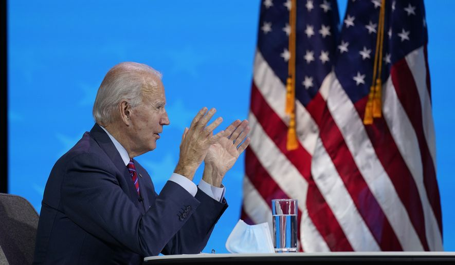 President-elect Joe Biden participates in a virtual meeting with the National Association of Counties Board of Directors about jobs at The Queen theater, Friday, Dec. 4, 2020, in Wilmington, Del. (AP Photo/Andrew Harnik)  **FILE**