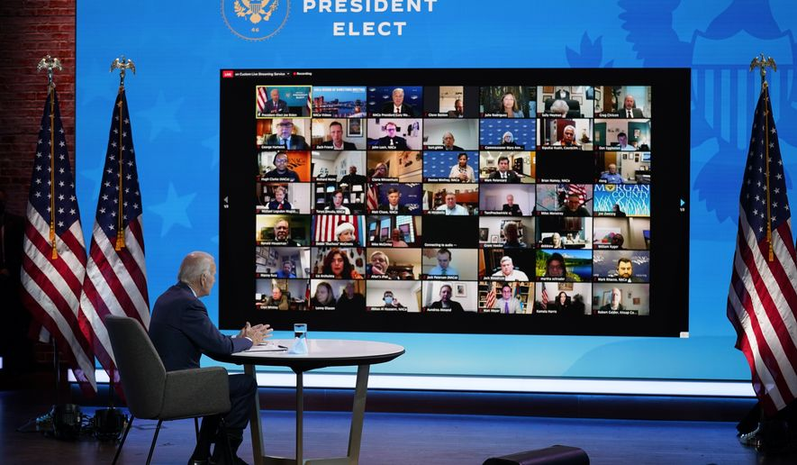 President-elect Joe Biden participates in a virtual meeting with the National Association of Counties Board of Directors about jobs at The Queen theater, Friday, Dec. 4, 2020, in Wilmington, Del. (AP Photo/Andrew Harnik)
