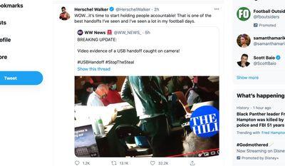 Former NFL star Herschel Walker comments on a viral 2020 election video that appears to show the hand-off of a USB drive between poll workers. (Image: Twitter, Herschel Walker tweet screenshot)