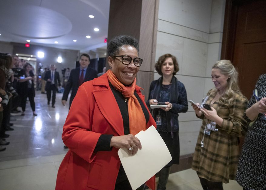 In this Nov. 28, 2018, file photo, Rep. Marcia Fudge, D-Ohio, who declined to enter the speaker's race after securing concessions from Democratic Leader Nancy Pelosi, arrives for the Democratic Caucus leadership elections at the Capitol in Washington. At Agriculture and the Department of Housing and Urban Development, Fudge and California Rep. Karen Bass, respectively, are being considered by President-elect Joe Biden to be a part of the administration. (AP Photo/J. Scott Applewhite, File)
