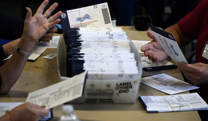 In this Wednesday, Nov. 4, 2020, file photo, Chester County election workers process mail-in and absentee ballots for the 2020 general election in the United States at West Chester University in West Chester, Pa. (AP Photo/Matt Slocum) ** FILE **