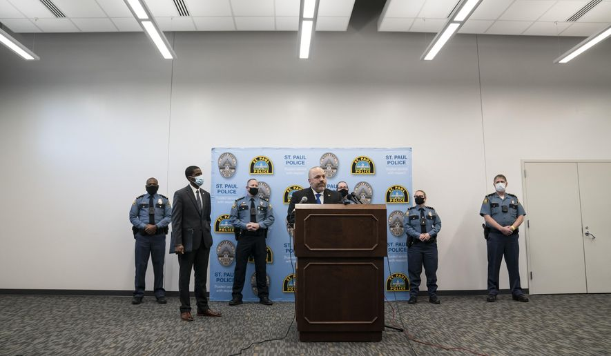 St. Paul Police Chief Todd Axtell spoke at a press conference about a shooting by a police officer last weekend in St. Paul, Minn., on Tuesday, Dec. 1, 2020. (Renee Jones Schneider/Star Tribune via AP)