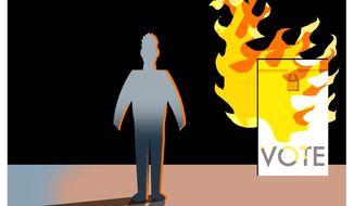 Illustration on faith amid political turmoil by Alexander Hunter/The Washington Times