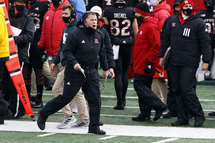 Rutgers head coach Greg Schiano reacts to a call during the first half of an NCAA college football game against Penn State on Saturday, Dec. 5, 2020, in Piscataway, N.J. Penn St. won 23-7. (AP Photo/Adam Hunger)