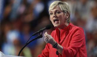 FILE - In this July 28, 2016, file photo, former Michigan Gov. Jennifer Granholm speaks during the final day of the Democratic National Convention in Philadelphia. Even after he exits the White House, President Donald Trump's scorched-earth strategy of challenging the legitimacy of elections and seeking to overturn the will of the voters by any means necessary could have staying power. Granholm, joined with former New Jersey Gov. Christine Todd Whitman, a Republican, to raise concerns about Trumps refusal to concede and efforts to undermine the integrity of elections. (AP Photo/Paul Sancya, File)