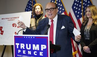 Former Mayor of New York Rudy Giuliani, a lawyer for President Donald Trump, speaks during a news conference at the Republican National Committee headquarters in Washington.  (AP Photo/Jacquelyn Martin, File)