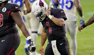 Arizona Cardinals quarterback Kyler Murray (1) heads to his sidelines after a three and out against the Los Angeles Rams during the second half of an NFL football game, Sunday, Dec. 6, 2020, in Glendale, Ariz. (AP Photo/Ross D. Franklin)