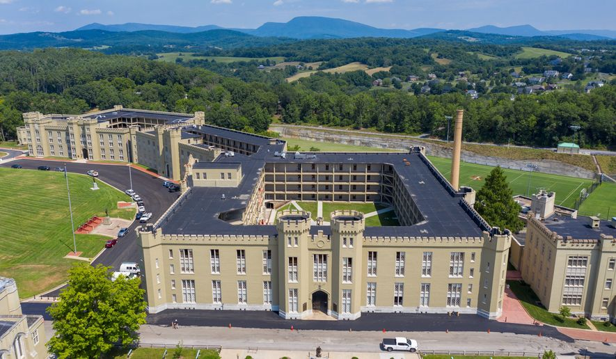 This July 15, 2020 file photo shows the barracks at Virginia Military Institute in Lexington, Va. The Lexington, Va., school announced on April 15, 2021 that it has named retired Army Maj. Gen. Cedric T. Wins to be its next superintendent, making him the first Black man to lead the school in its 182-year history.  (AP Photo/Steve Helber)