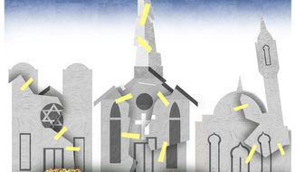 Illustration on religious building restoration in Karabakh by Alexander Hunter/The Washington Times