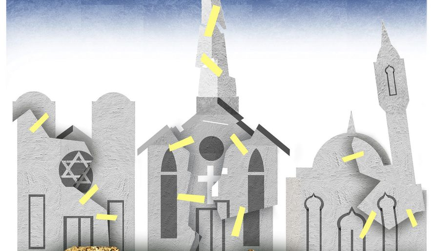Illustration on religious building restoration in Karabakh by Alexander Hunter/The Washington Times