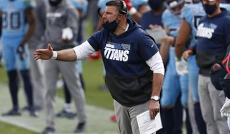 Tennessee Titans head coach Mike Vrabel yells during the second half of an NFL football game between the Titans and the Cleveland Browns Sunday, Dec. 6, 2020, in Nashville, Tenn. (AP Photo/Wade Payne)