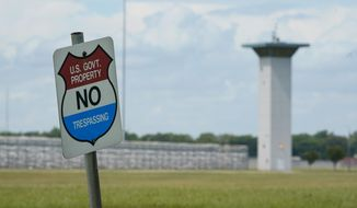 In this Aug. 28, 2020, file photo, a no trespassing sign is displayed outside the federal prison complex in Terre Haute, Ind. (AP Photo/Michael Conroy, File)  **FILE**