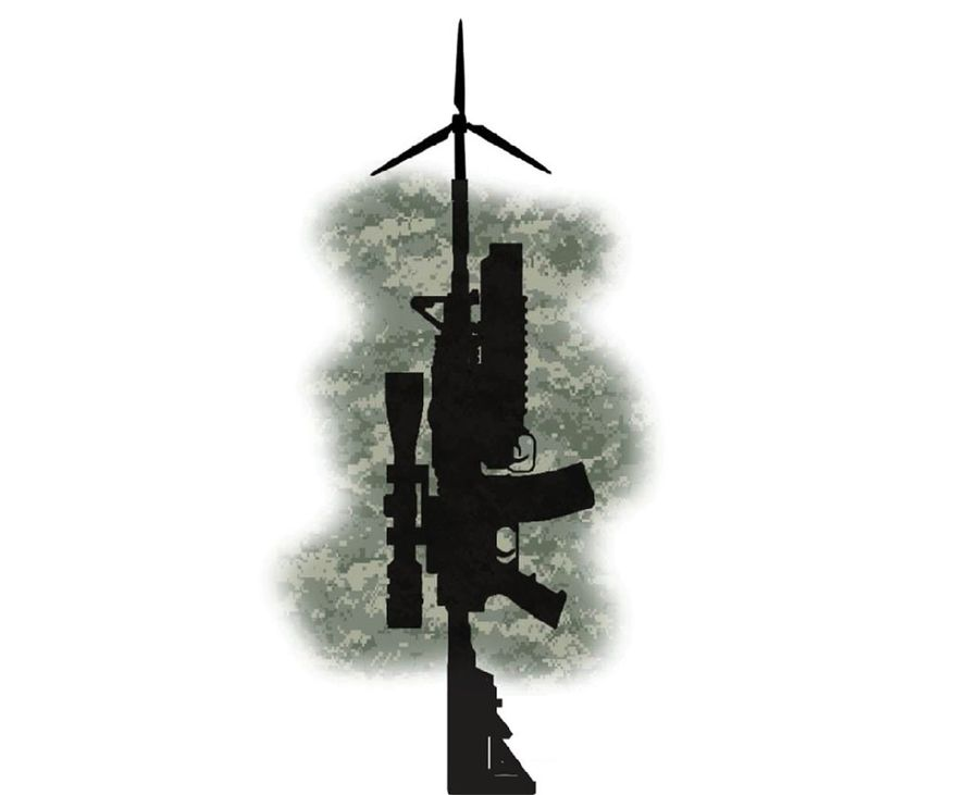 Illustration on national defense policy and climate change by Alexander Hunter/The Washington Times