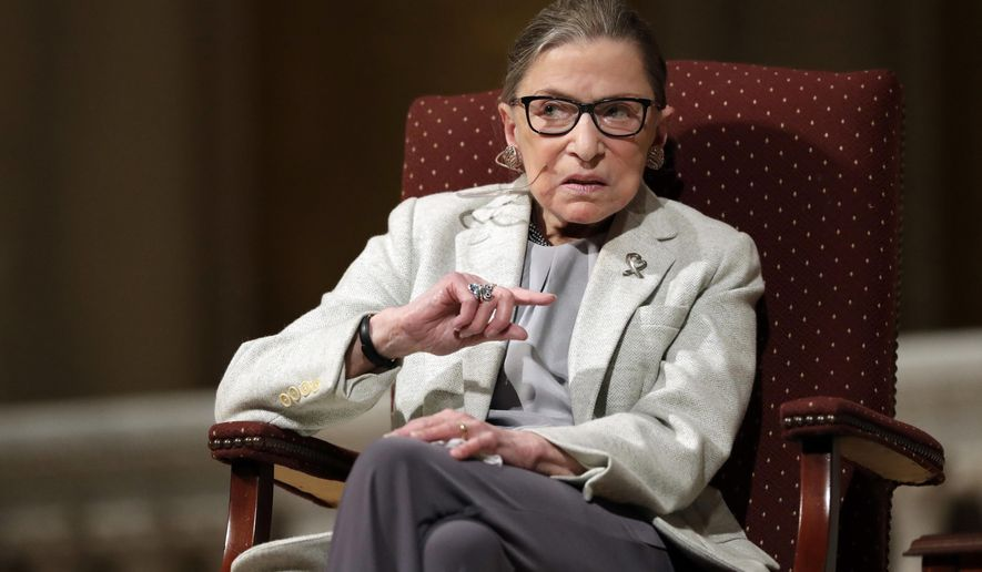 """FILE - In this Feb. 6, 2017 file photo, Supreme Court Justice Ruth Bader Ginsburg speaks at Stanford University in Stanford, Calif. """"My most fervent wish is that I will not be replaced until a new president is installed."""" The quote from Ginsburg's statement dictated to granddaughter in September 2020, holds the number six spot on the Yale Law School librarian's list of the most notable quotes of 2020.. (AP Photo/Marcio Jose Sanchez, File)"""